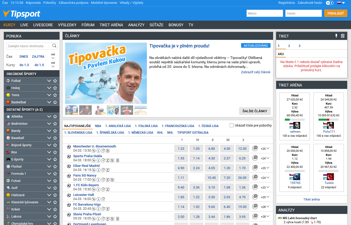 Tipsport web